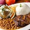 Arroz con menestra y carne,Salinas, Ecuador