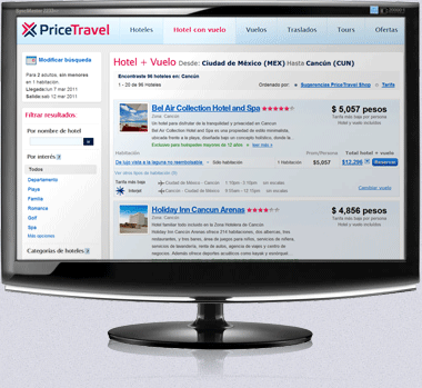 Pantallas en Puntos de Atención PriceTravel
